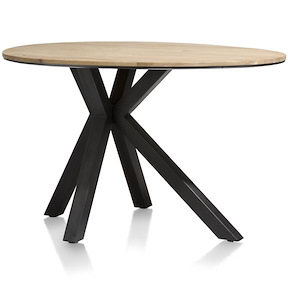 Colombo, Table De Bar Ovale Rond 150 X 110 Cm - Chene Massif + Mdf