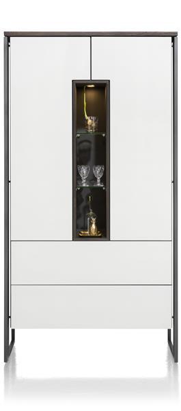 Glasgow, Armoire 2-portes + 2-tiroirs + 3-niches - 100 Cm (+ Led)