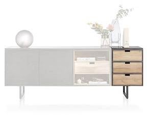 Moniz, Parti Attacher Buffet 50 Cm - 3 Tiroirs Reversibles