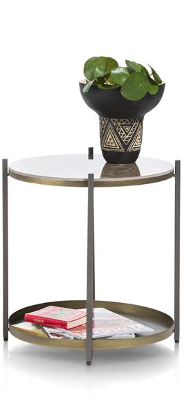 Table D'appoint Ballito - Metal & Ceramique - Ronde 45 Cm