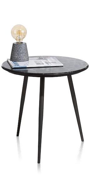 Kinzos, Table D'appoint - Marbre Noir - Rond 45 Cm