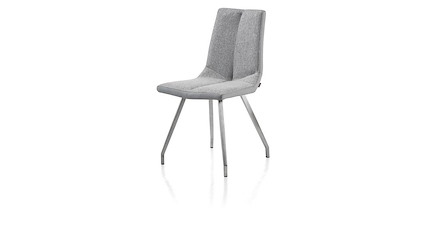 Chaise Pieds Inox Assise Synthtique Tissu Gris Artella Xooon